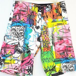 Billabon Graffiti Print Board Shorts Mens Size 32